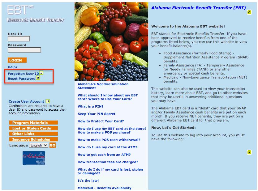 """""""Alabama EBT Card account - reset password or get user ID"""""""
