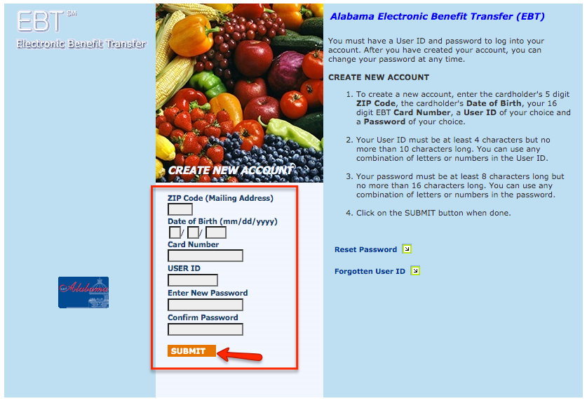 """Alabama EBT Card create an account"""