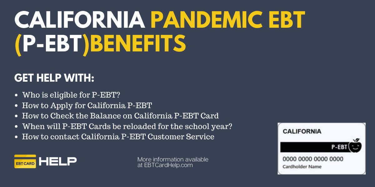 """California P-EBT Application, Balance and Reload"""