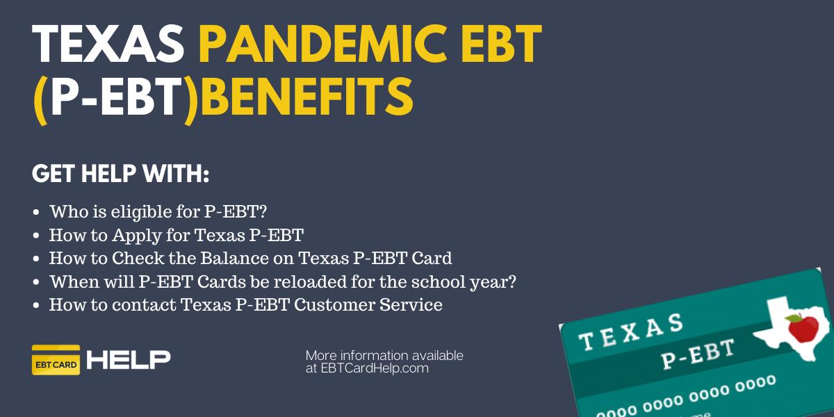 """Texas P-EBT Application, Balance and Reload"""